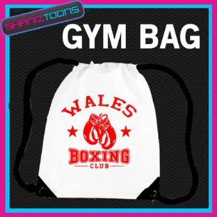 WALES WELSH BOXING CLUB BOXER GYM  BODYBUILDER DRAWSTRING WHITE GYMSAC BAG
